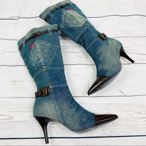 NEW! Jeans Leather High Heel Boots